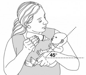 Normal position of feeding a baby